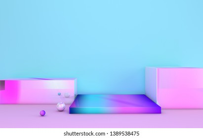 3d rendered iridescent geometric shapes, podium. Blue background. Set of platforms for product presentation, mock up. Abstract composition in modern minimal design