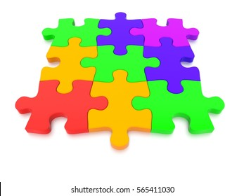 3D rendered Jigsaw Puzzle concept, depicting teamwork and connection