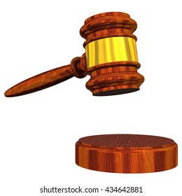 3D Rendered judge's gavel isolated on a white background.
