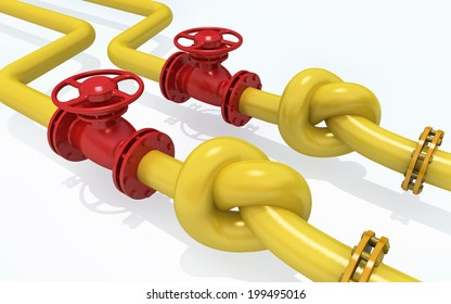 3D rendered knot from pipeline. Concept of energy crisis.
