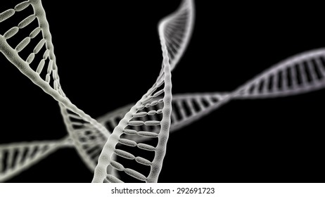 3D rendered many DNA helix (electronic microscope simulation) with focus effect (dark version)