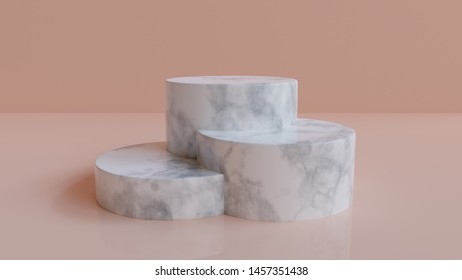 3d rendered marble podium background   - Abstract, 3d rendered pastel pink background with marble podium