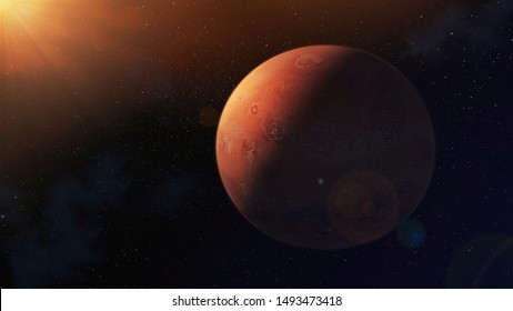 3d rendered Mars, the red planet, fourth from the Sun, illustration