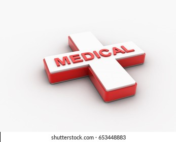 3d rendered medical Sign isolated on a white background