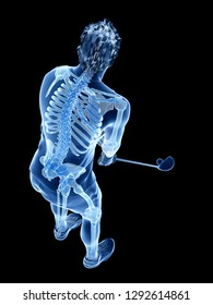 3d rendered medically accurate illustration of the skeleton of a golf player