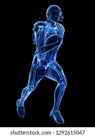 3d rendered medically accurate illustration of the skeleton of an american football player