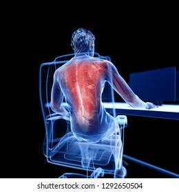 3d rendered medically accurate illustration of an office worker having a painful back