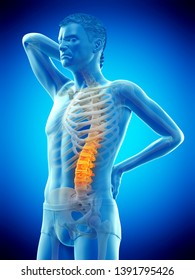 3d rendered medically accurate illustration of a man having acute back pain