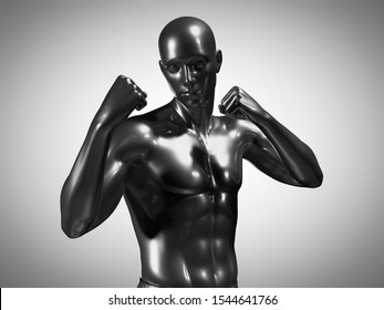 3d rendered medically accurate illustration of a metallic man in a boxing pose