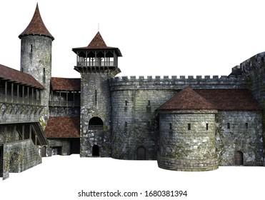 3D Rendered Medieval Castle on White Background - 3D Illustration
