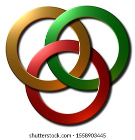 A 3D rendered metallic borromean rings symbol illustration in gold green and red isolated on a white background.