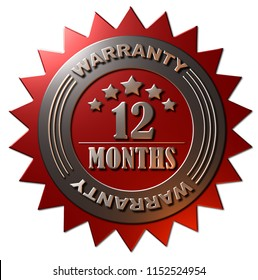 A 3D rendered metallic gold and red 12 months warranty seal with stars Isolated on a white background