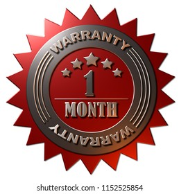 A 3D rendered metallic gold and red 1 month warranty seal with stars Isolated on a white background