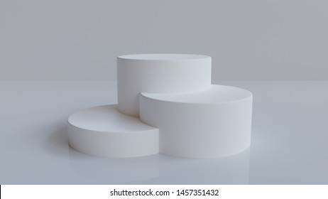 3d rendered minimal podium background   - Abstract, 3d rendered white background with white  podium