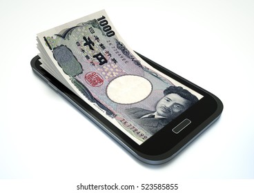 3D rendered Mobile phone with japan money coming out of it isolated