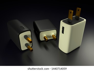 3D rendered mobile usb charger adapter illustration