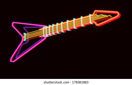 3d rendered modern guitar as neon lamp, dark background