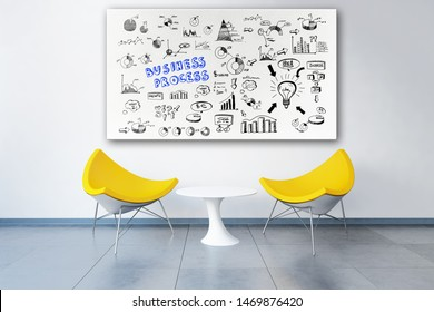 3d rendered modern office with business plan doodles on a whiteboard above two chairs like in a meeting room