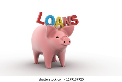 3d rendered money saving piggy for concept debt loan finance basic isolated on a white background