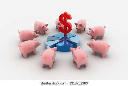 3d rendered Multicolored piggy banks in a row on a white background