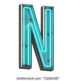 3d rendered Neon letter N