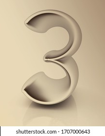 "3d rendered of number ""3""- three on toned background"