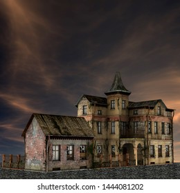 3D rendered Old Abandoned Building at Night