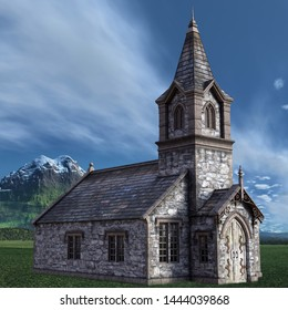 3D rendered old church - 3D Illustration