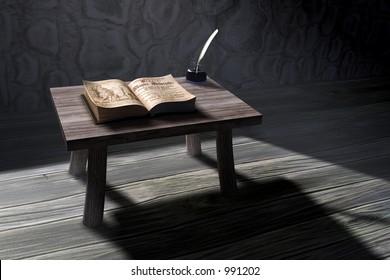 3D rendered old study scene