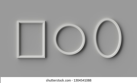 3D rendered photo frames on a grey wall for use in editing and Photoshop.