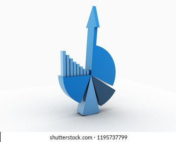 3d rendered Pie chart business concept on white background