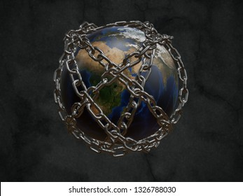 3D rendered planet Earth chained as metaphor of Prison Planet - some elements of this image furnished by furnished NASA