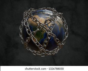 3D gerenderter Planet Erde verkettet als Metapher des Gefängnisplaneten - einige Elemente dieses Bildes, die von der möblierten NASA bereitgestellt werden