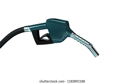 3D rendered pump nozzle for refueling gas on white background