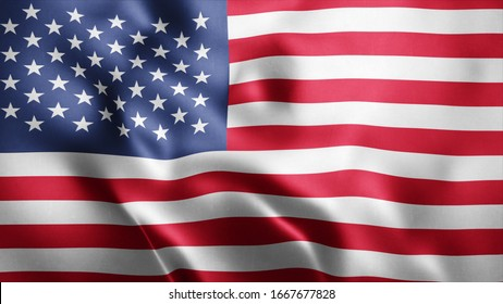 3d Rendered Realistic fabric Shiny Silky waving flag of USA 8K Illustration Flag Background United States of America National Flag