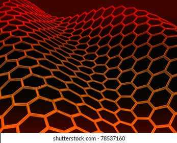 3D rendered red glossy graphene molecular structure on black background