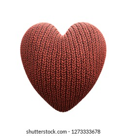 3D rendered red knitted heart over white background