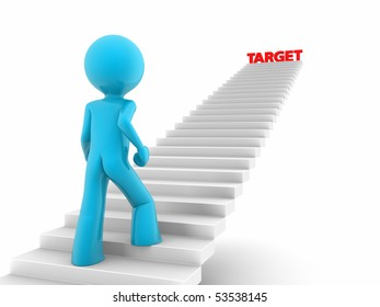 3d rendered red man walks upstairs; stairs with a 'target' word on the top