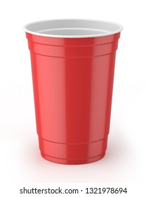 3d rendered red and white 16oz 455ml american plastic party cup.