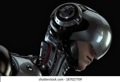 3d rendered robotic Girl in helmet