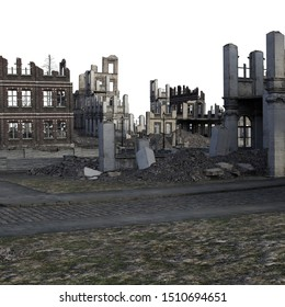 3D Rendered Ruined City After War on White Background - 3D Illustration