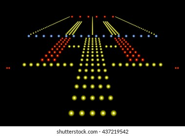 3D Rendered runway lights at night isolated on a black background