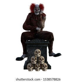 3D rendered scary clown sitting on a coffin with skulls
