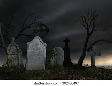 3D rendered scene of old dark cemetery at night
