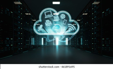 3D rendered scene of a server room, representing advanced cloud computing, and Hi-tech computing power