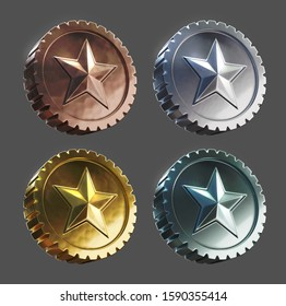 3d rendered set of coins with embossed star - bronze, silver, gold, platinum.
