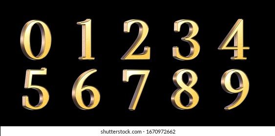 3d rendered set of golden numbers 0-9 isolated on a black background
