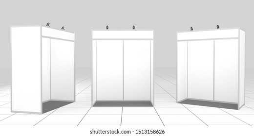 3d rendered simple fair stand. 2x1 meters. Mockup. Isolated