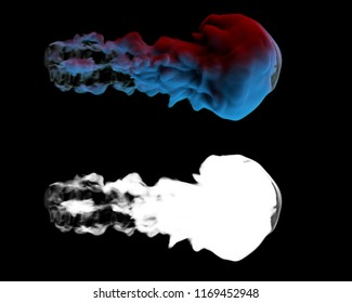 3d rendered smoke digital simulation. Organic smoke shape with shadows. Smooth smoke form with luma mask.