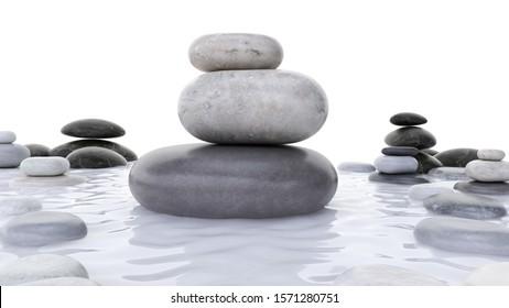 3d rendered spa illustration - stone stacks